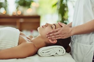 Woman being massaged in a Spa